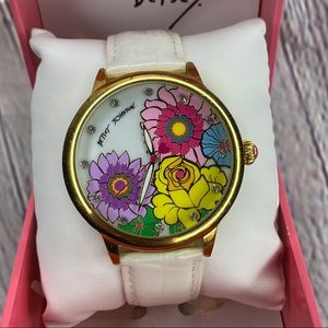 Betsey Johnson floral white leather strap watch